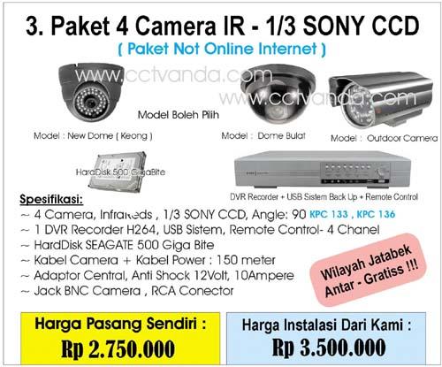 Paket Camera CCTV 4 Camera IR - 1/3 Sony CCD ( Not Online Internet )