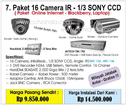Paket Camera CCTV 16 Camera IR - 1/3 Sony CCD ( Online Internet - Blackberry, Laptop )