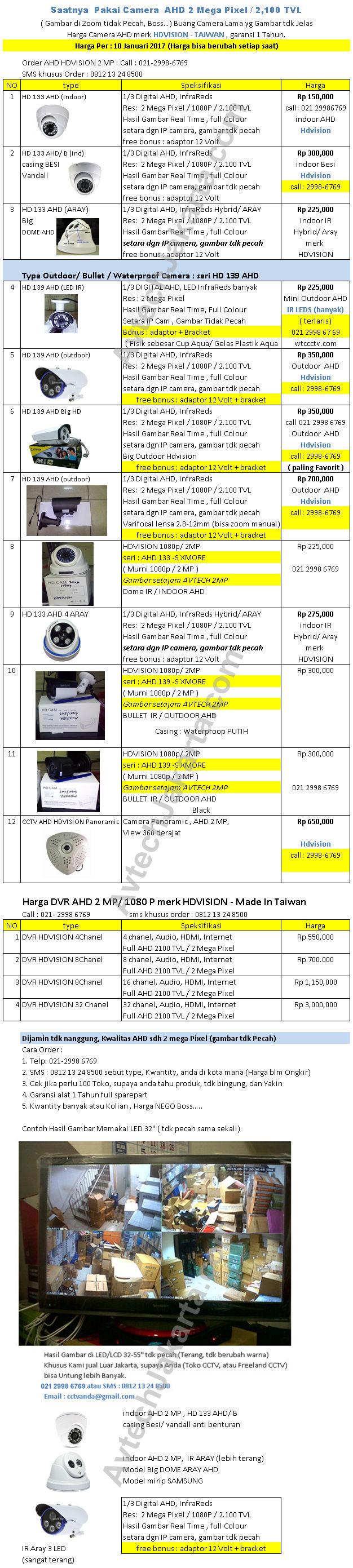 Harga Camera CCTV Merk AHD Per 10 Januari 2017 - Avtech Jakarta