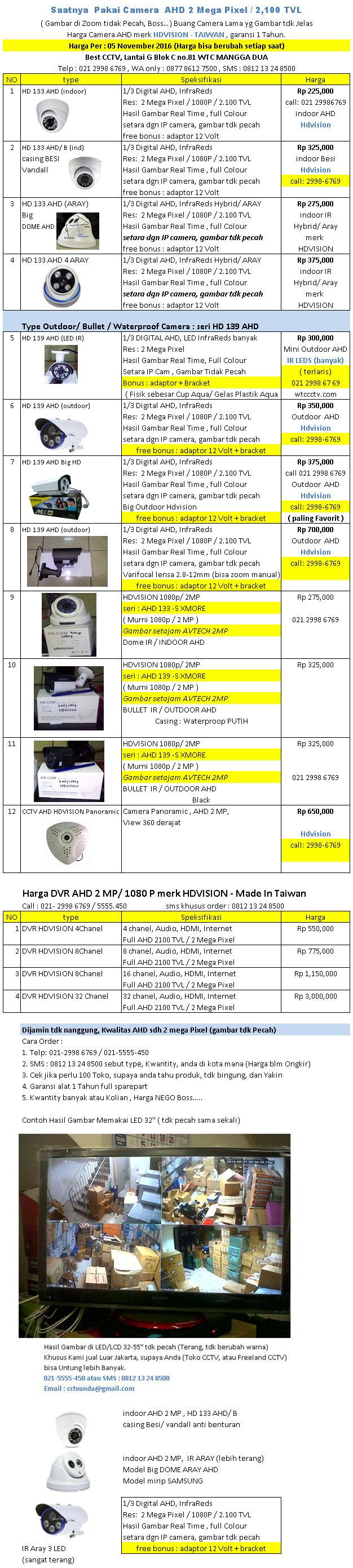 Harga Camera CCTV Merk AHD Per 05 November 2016 - Avtech Jakarta