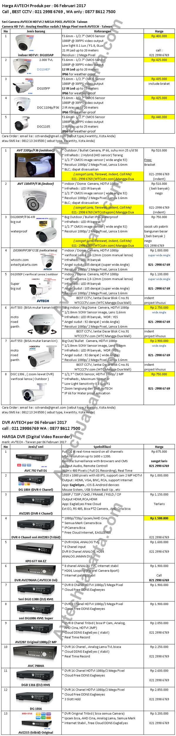 Harga Camera & DVR AVTECH made in Taiwan per 06 Februari 2017 Avtech Jakarta